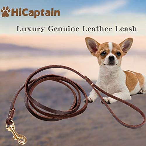 HiCaptain Thin Leather Pet Leash, Durable Dog Leashes Suit for Small Dog Up to 15 lb (1/5 inch Wide, 6 Ft)