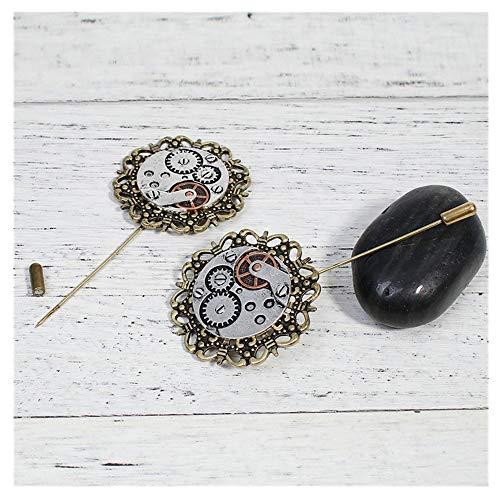 KAERMA Steampunk Stick Pin Broches Engranaje Redondo Bronce Antiguo Plata Insignias Moda Unisex Ropa Pins Joyería Accesorios Moda