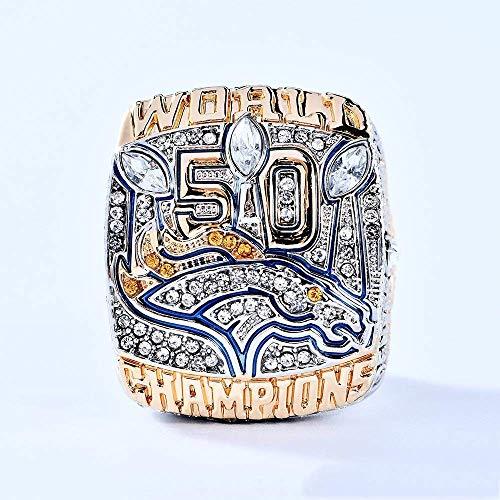 WANZIJING NFL 50. Super Bowl-Champion Ring 2015 Denver Broncos Meister Ringe Replica-Kollektion Souvenirs Fans Geschenke,Boxless,11