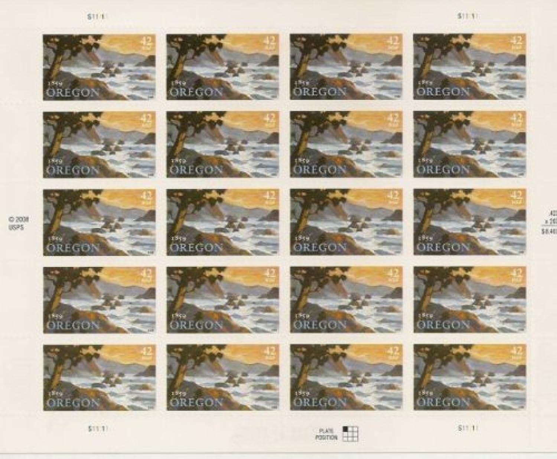 Oregon Statehood Sheet of Twenty 42 Cent Stamps Scott 4376 by USPS