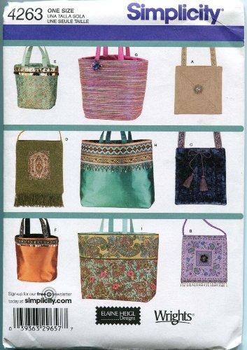 Simplicity 4263Sew Muster Taschen Handtaschen geldbeuteln–9Styles