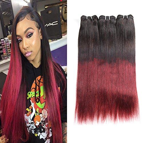 Huarisi Cheveux Brésilien raide ombré trame T1b/Burgundy cheveux virginal humain extensions 100 cheveux vrai paquets 18 20 22 pouces pour les femmes noires