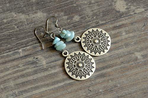 silberne Ohrringe mit Larimar Splittern und Mandala aqua hellblau