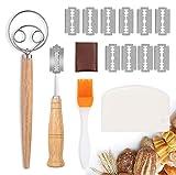 Detontek Taglierino per Pane, Bread Lame con 10 Lamette in Acciaio Inossidabile, Pennello in Silicone, Raschietto per Cuocere, Intagliare Modelli di Pane Crudo