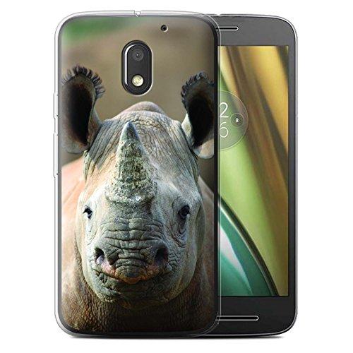 Custodia/Cover/Caso/Cassa Gel/TPU/Prottetiva STUFF4 stampata con il disegno Animali selvatici per Motorola Moto E3 2016 - Rinoceronte