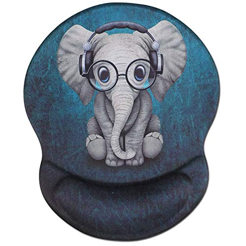 Ergonomic Mouse Pad with Wrist Support, Non Slip Mousepad with Lycra Cloth, Non-Slip PU Base Easy Typing Mouse Mat for Office, Computer, Laptop & Mac (Cute Elephant-Wrist)