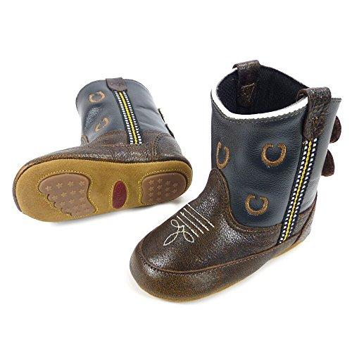 Westernwear-Shop Baby Leder-Cowboystiefel Westernstiefel Boy Horse Shoe (Hufeisen) Baby-Westernstiefel Kinder-Westernstiefel Cowboy Boots für Jungen (3) Braun