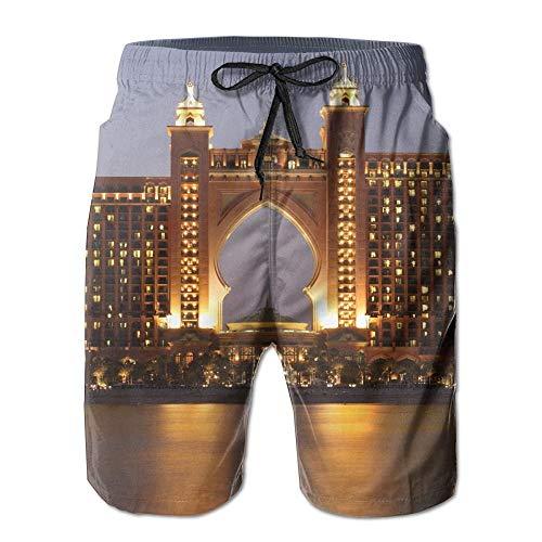 wwoman Pantalons de Bain décontractés pour Hommes/garçons The Palm Atlantis, Pantalons de Plage Taille élastique avec Poches,L