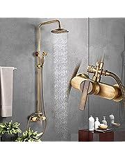 HWLY Douchekranen, vintage design, messing, incl. regendouchekop, douchekraan en badkuip, uitvoering in antiek messing