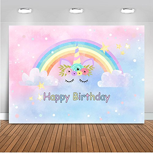 Mehofoto Unicorn Backdrop Watercolor Rainbow Happy Birthday Photography Background 7x5ft Vinyl Unicorn Themed Birthday Party Banner Backdrops