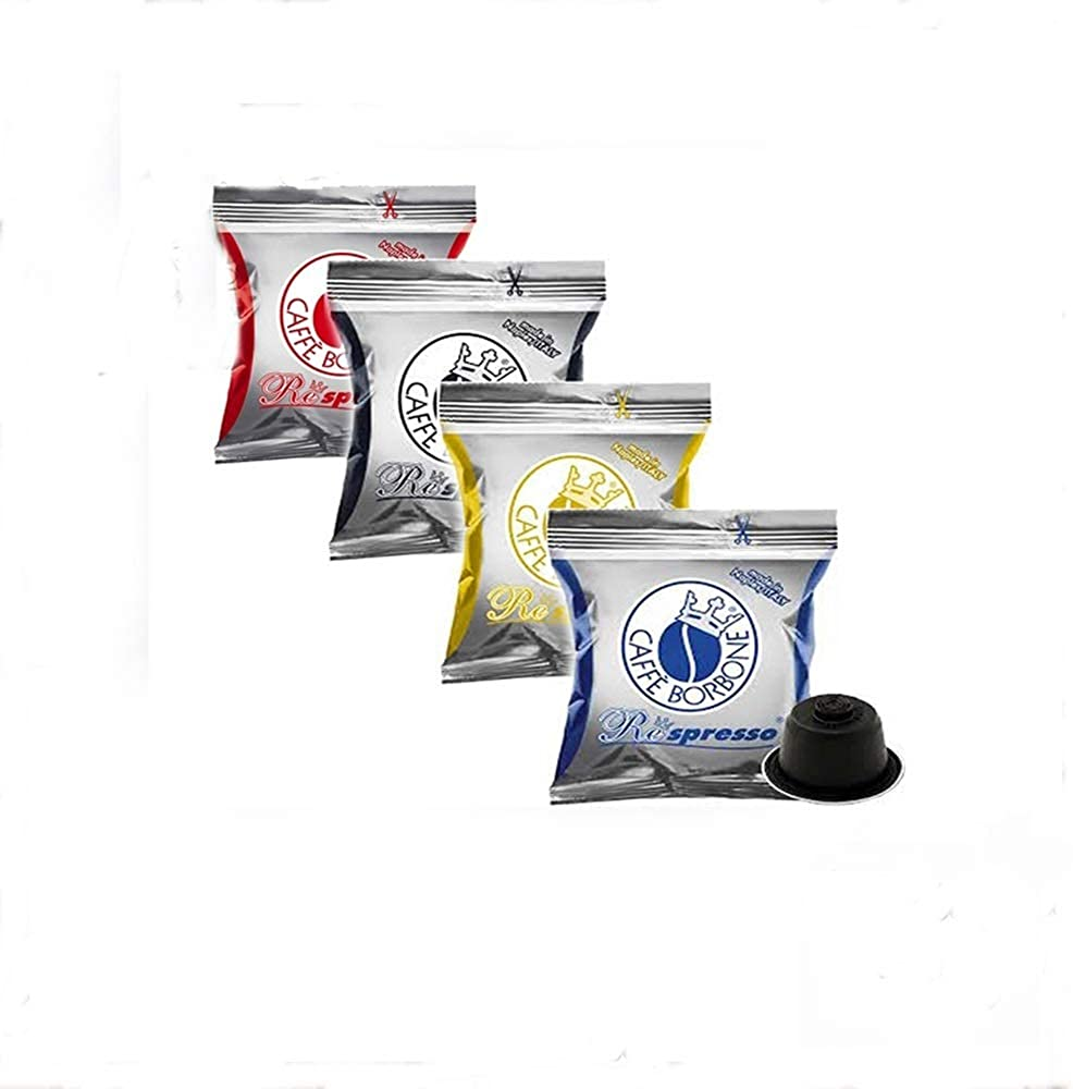 Caffè borbone  respresso,set di miscele ,4x25 capsule,compatibili con nespresso