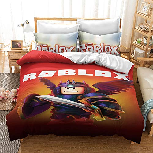 Elsdsnky 3 Pcs Duvet Cover Set with Two Pillow Cases Roblox Print Bedding Set Soft Microfiber Bedding Package Duvets and Pillowcases for Children Teens Adults (135x200 cm, 2x50x75 cm)