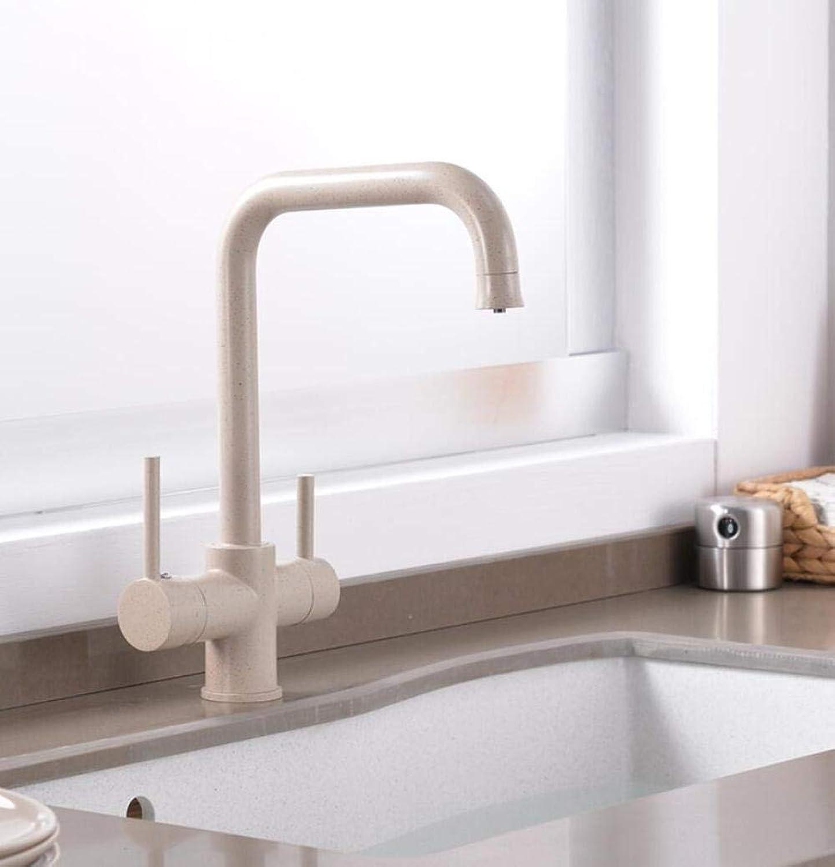 Wasserhahn Küchenarmatur New Style Beige Double Bend Kitchen Water Purifica Faucet With Filterot Water Double Spout Kitchen Tap Sink Mixer