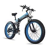 Neumático De Gordo Bici Eléctrica Adultos Playa De Montaña Plegable Bicicletas De Nieve 21 E-Bicicleta E-Bicicleta con 1000W Batería De Litio Desmontable De hasta 28 mph,C,36V350W10AH