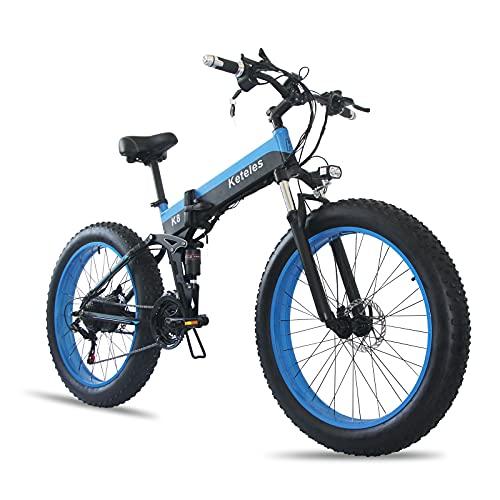 GRAFS Pneumatico Elettrico Bike Adulti Pieghevole Beach Beach Snow Bicycles Bicycles 21 Speed Gear E-Bike con Batteria al Litio Staccabile da 1000 W Fino A 28 Miglia All'ora,C,36V350W10AH