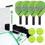 Kanga Pickleball Paddle, Portable Net and Ball Set (Includes Metal Frame + Net + 4 Kanga Wood...
