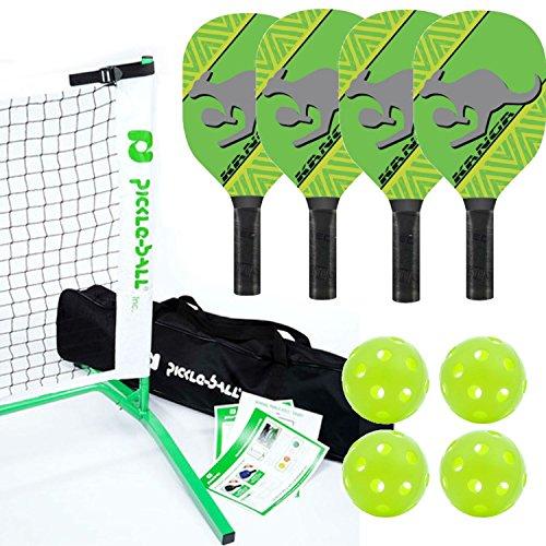 Kanga Pickleball Paddle, Portable Net and Ball Set (Includes Metal Frame + Net + 4 Kanga Wood Paddles + 4 Balls + Rules Sheet in Carry Bag) (3.0 - Green)