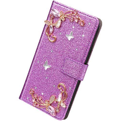 Herbests Kompatibel mit Huawei P40 Lite Hülle Klapphülle 3D Glänzend Bling Diamant Strass Schmetterling Muster Schutzhülle Bookstyle Flip Cover Leder Hülle Kartenfach Ständer,Lila