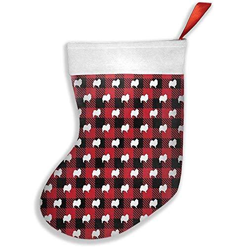 Wheatleya Pomeranian Buffalo Plaid Weihnachtsstrümpfe, Socken für Weihnachtsdekorationen