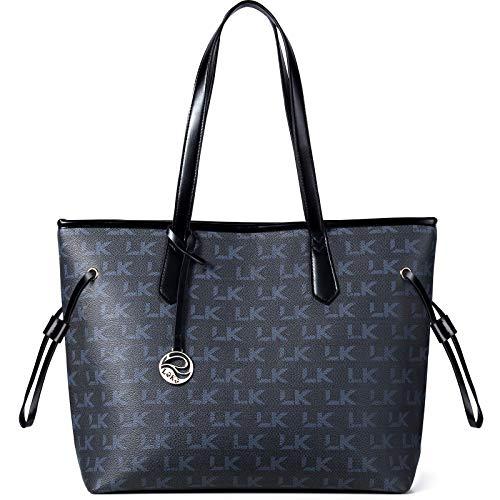 Lekesky Women's Handbag Black Tote Bag Leather Shoulder Bag Black Handbag...