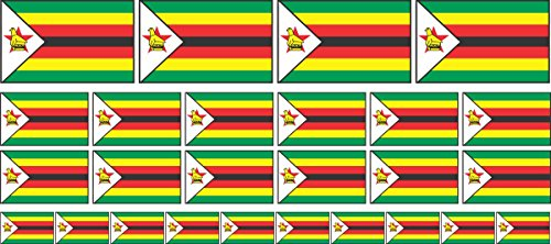 Mini Aufkleber Set - Pack glatt - 4x 51x31mm+ 12x 33x20mm + 10x 20x12mm- Sticker - Simbabwe - Flagge - Banner - Standarte fürs Auto, Büro, zu Hause & die Schule - Set of 26