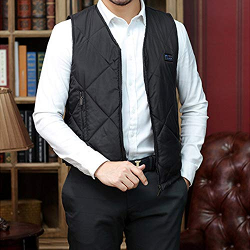 Roboraty Verwarmd vest, oplaadbare USB-warmte-jas voor dames en heren, wasbare elektrische warme kleding voor skiën, jagen, kamperen en wandelen X-Large zwart