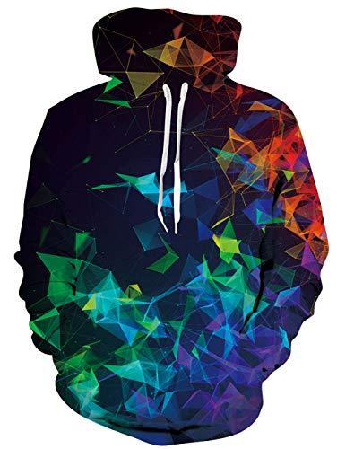 uideazone Uniesx 3D-Druck Hoodies Fleece-Pullover Lustige Kapuzenpullover Sweatshirt für Herren Damen mit Großen Taschen …, C-wolf, S