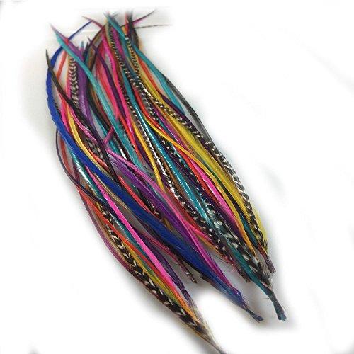Sexy paillettes 17,8 cm -10 cm de longueur 8 superbe Happy Rainbow Mix Mélange de plumes lié à la pointe pour extension de cheveux de Qualité Salon
