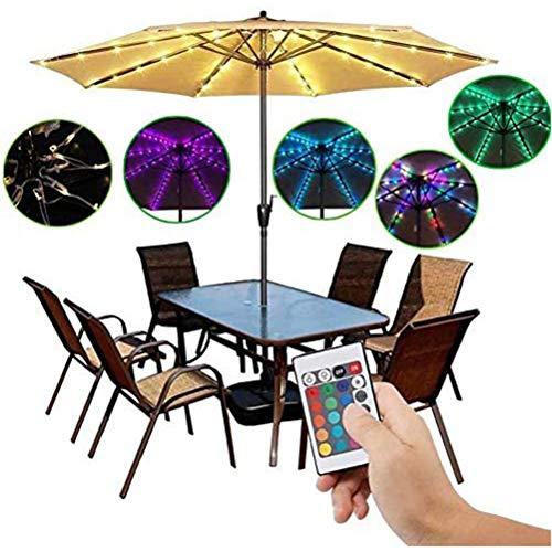 Patio Umbrella Lights, Sonnenschirm Lichterketten mit Fernbedienung 16 Farben 104 LED wasserdichte Sonnenschirm Licht Batterie für Garten Hinterhof Außendekoration betrieben