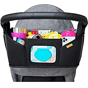 liuliuby Stroller Organizer – Large Storage Space with Easy Access Wipes Pocket and Customizable Compartments – Universal Fit