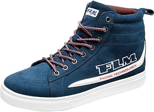 FLM Motorradschuhe, Motorradstiefel lang City Schuh, verstärkter Knöchelbereich, atmungsaktiv, ergonomisch geformtes Fußbett, Nubukleder, rutschfeste Funktions-Gummisohle, Blau, 36