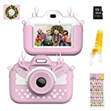 Themoemoe Kids Digital Camera Childrens Camera, Touch Screen Video Photo Camera for Kids Rechargeable Toddler Camera with Lanyard, 16G SD Card, Birthday Gift for Girls Boys (Pink)