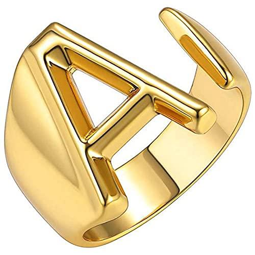 Ezzyso Anillo de Letras en inglés, Apertura Americana, Personalidad Ajustable, joyería de Anillo de aleación exagerada Retro (2 PCS),Oro,C