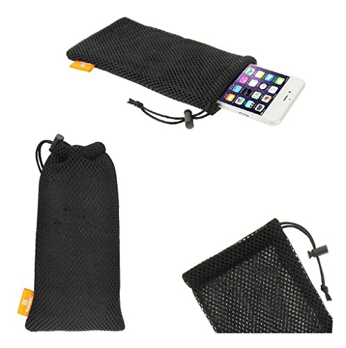 DFVmobile - Universal Nylon Mesh Pouch Bag with Chain and Loop Closure for EVOLVEO STRONGPHONE Q8 LTE - Black