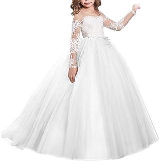 8d8eba80cb643 IBTOM CASTLE Fille Robe de Mariage Cérémonie Soirée Manches Longues Robes  Princesse en Dentelle Florale Costume