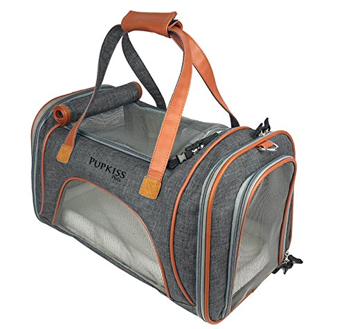 ShamBo Luxury Airline Approved Pet Carrier. Dog Carrier & Cat Carrier Fits Under Seat. Soft Sided Pet Carrier for Small Dogs & Cats. Oxford w/Quality Grade Mesh. 2 Fleece Beds Included.