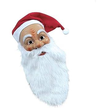 Net Toys Masque De Pere Noel Avec Barbe Touffue Et Bonnet Visage De Santa Klaus Saint Nicolas Masque De Nativite Santa Carnaval Deguisement Amazon Fr Jeux Et Jouets