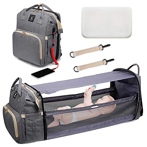 Baby Changing Bag, Multifunctional Baby Travel Cot, Portable Diaper Bag for Baby Foldable Cot Bed, Large Capacity Baby Backpack with Changing Mat, USB Charging Port for Outdoor Travel Camping