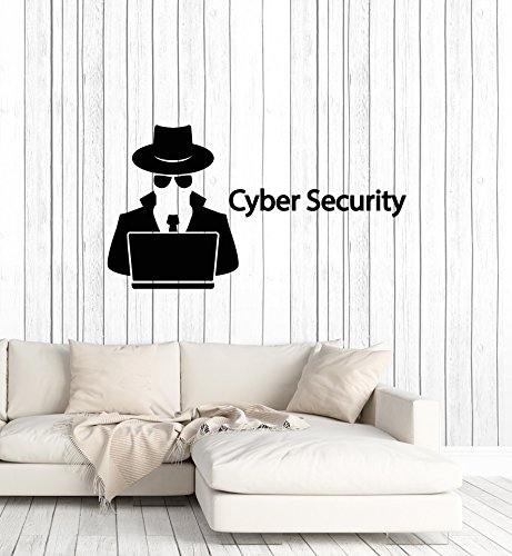 WallStickers4ever Large Vinyl Wall Decal Cyber Security Hacker Spy Agent Laptop Decor Art Stickers Mural (ig5571)