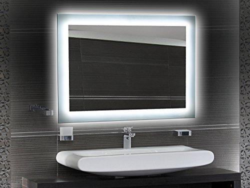Badezimmerspiegel mit Beleuchtung LED Spiegel - 60x40 cm - Badspiegel mit Licht - Design Spiegel für Bad und Gäste WC hinterleuchtet - beleuchteter Wandspiegel Rahmenlos - O-LED