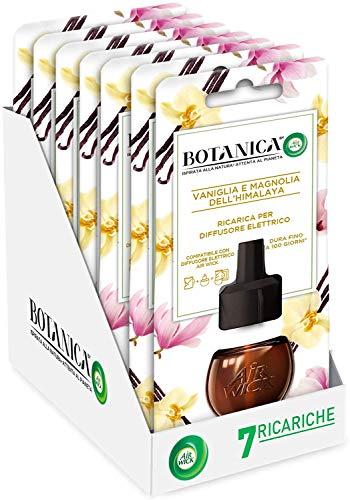 Airwick Botanica Ricariche per Diffusore di Oli Essenziali Elettrico, Fragranza Vaniglia e Magnolia dell'Himalaya, Fragranza Naturale, Confezione da 7 Ricariche