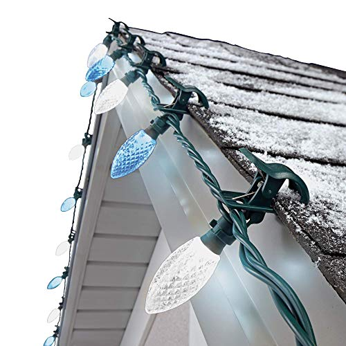NOMA C9 LED Quick Clip Christmas Lights | Built-in Clip-OnString Lights | 24Pure White & Blue Bulbs | 16FootStrand