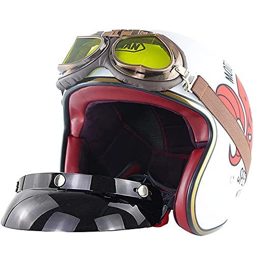 Casco de moto jet abierto de media cara blanco, casco anticolisión para hombre y mujer 3/4 de Harley vintage light cruiser Vespa (con visera solar UV50 + y 100% parabrisas) -Certificación ECE / DOT