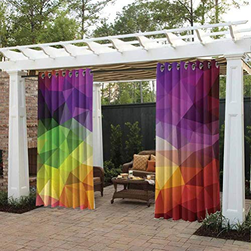 ScottDecor 96' W by 72' L Abstract Extra Wide Curtains for Pergola Sun Room Colorful Abstract Geometric Shapes with Triangular Polygons Creative Artistic Multicolor