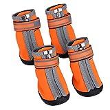 Scarpe da compagnia, Scarpe antiscivolo impermeabili per cani Stivali invernali da pioggia calda per cani Stivaletti per animali con cinghie riflettenti perfette per cani di taglia media piccola(#3)