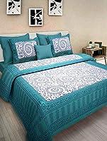 JCE Unique Art Rajasthani Jaipuri Traditional Sanganeri Printed 144 TC Cotton Double Size Bedsheet with 2 Pillow Covers...