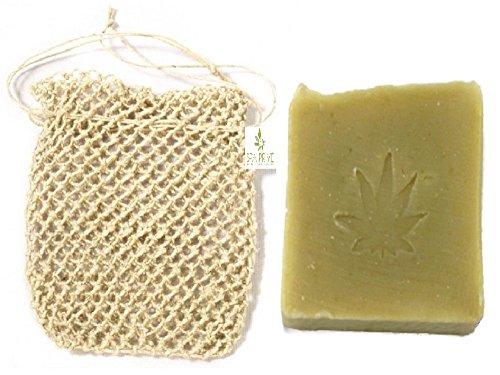 Sapone canapa e ortica naturale con olio vergine di oliva e borsa per sapone esfoliante di canapa fatto a mano