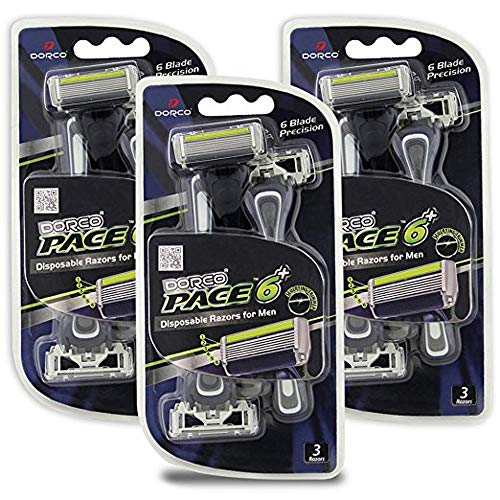 Dorco Pace 6 Plus - Six Blade Disposable Razors with Trimmer...