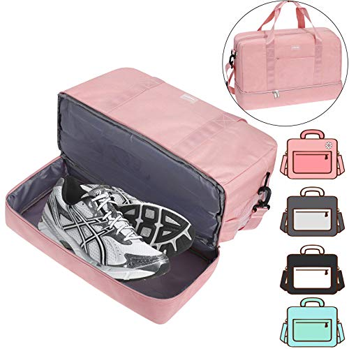 ACECHA Gym Bag Shoes Compartment Shoulder Bag Travel Duffel Bag Swim Bag for Women and Men (Pink XL)