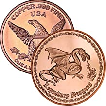 Private Mint 1 oz .999 Pure Copper Round/Challenge Coin (Legendary Dragons)